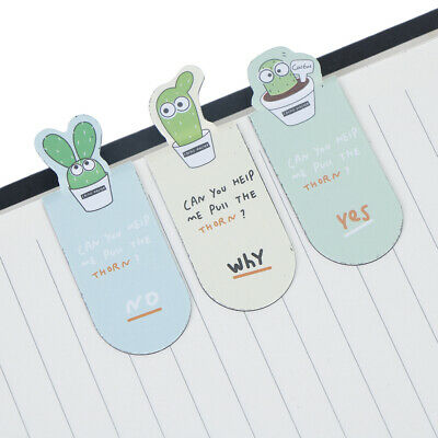 3pcs/Set Cute cactus magnetic bookmarks books marker stationery office suppBP