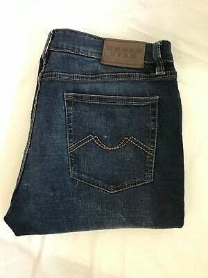 Urban Star Mens Jeans Straight Leg Stretch Relaxed Fit Dark Blue Size 36x30