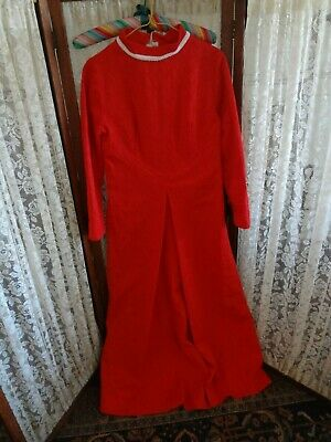 Vintage 60's 70's red poly high neck gown dress long sleeve 34 Bust