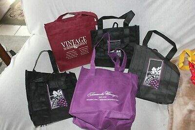5 Wine Bottle Carriers Totes Eco Friendly Reusable Bags Holds 6