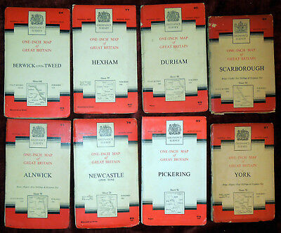 """8 Ordnance Survey Seventh Series 1""""1 Mile Maps Of North East England"""