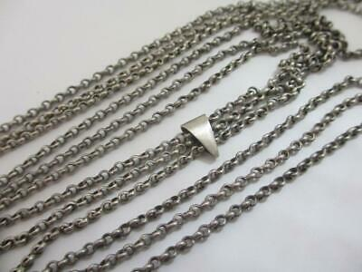 Sterling Silver Long Guard Chain Necklace Antique Victorian c1860. tbj07240