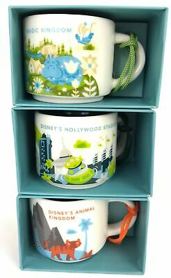 Disney Animal Magic Kingdom Hollywood Studios Starbucks mug ornament set 3