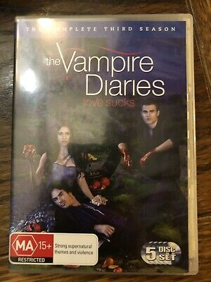 Vampire Diaries : Season 3 (DVD, 2012, 5-Disc Set) - Like New - PAL, R4 + Bonus
