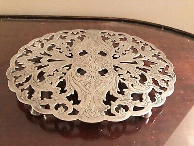 Vintage Lunt silverplate ornate footed solid trivet M-21 wall art mantel piece