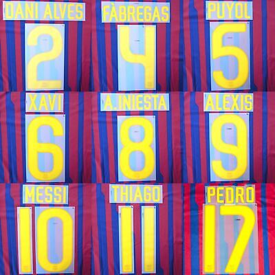 2011-12 Barcelona Player Issue Home Away Name Set Sipesa for Shirt Jersey