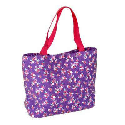 Purple Floral Design Tote Bag with Two Bright Pink Handles, & Zip Fastener