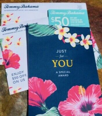 $50 Tommy Bahama Gift Award Card. $50 off $100 ONLINE or in store, email deliver