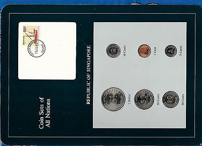 Coin Sets of All Nations Singapore UNC w/card All 1981 but 10 cents 1982