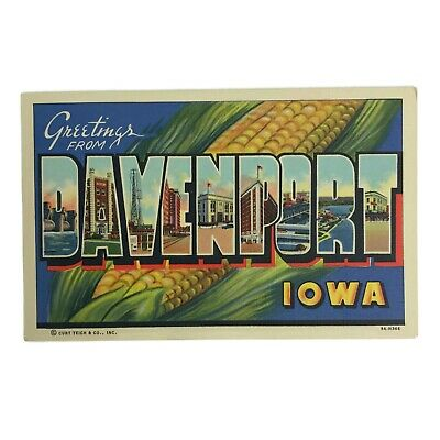 Vintage Greetings From Davenport Iowa Postcard Big Letters Ear Of Corn Hickey
