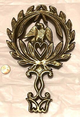 Antique Eagle Trivet Pennsylvania Dutch Heart Solid Brass Amish Hex Sign Fraktur