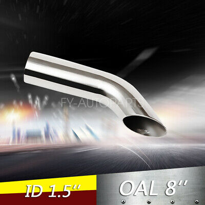 """1.5"""" Polished Turn Down Exhaust Tip 1 1/2"""" Inlet 8"""" Long Stainless Steel"""