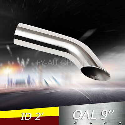 """2"""" ID Weld-on Polished Turn Down Exhaust Tips 2 Inlet / 9"""" Long STAINLESS STEEL"""
