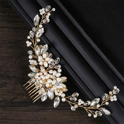 Wedding Bridal Hair Accessories Flower white Head Piece Pearls Gold Bride comb