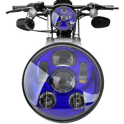 5.75'' Moto Phare Projecteur LED Headlight Bleu Pour Harley Sportster 1200 883