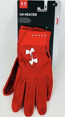Under Armour Mens Yard Baseball Batting Glove UA Heater Colorway Hot Red LARGE!