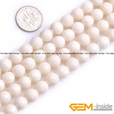 "Natural White Coral Gemstone Faceted Round Loose Beads For Jewelry Making 15"" YB"