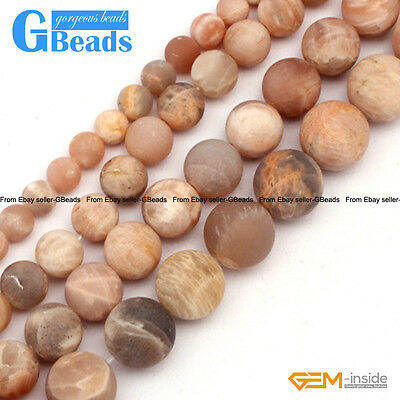Natural Sunstone Frost Matte Round Beads For Jewelry Making Free Shipping 15""