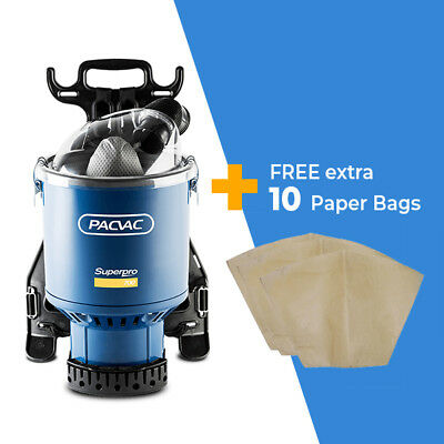 Pacvac Superpro 700 Commercial Backpack Vacuum Cleaner + EXTRA 10 Paper Bags