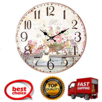 Vintage Inspired French Flowers Kitchen Wall Clock Battery Powered with Quartz