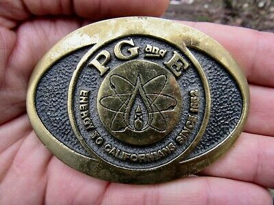 Vtg PACIFIC GAS Belt Buckle PG&E Nuclear 1978 ATOM PGE Nukes BTS Brass RARE VG+