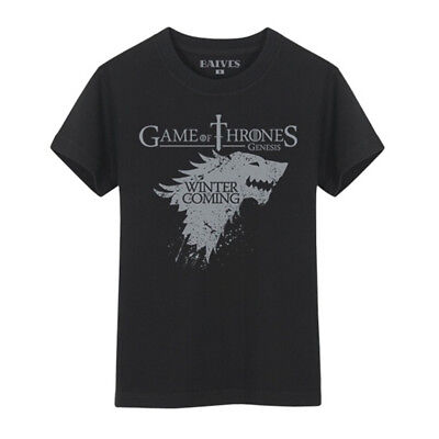 Game Of Thrones T-Shirt HOUSE STARK DIREWOLF WINTER IS COMING Black Cotton Tee