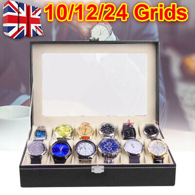 6/10/12/24Grid Faux Leather Watch Case Display Box Storage Jewellery Glass Top F