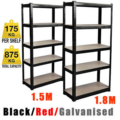1.8M 1.5M 5 Tier Garage Racking Storage Metal Shelving Unit Boltless Shelves AA+
