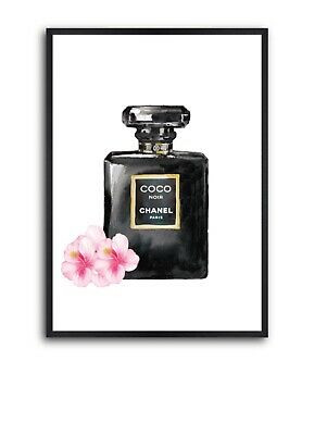 Black Chanel Perfume Bottle Wall Art Poster - Chanel Wall Art, Perfume Art Print