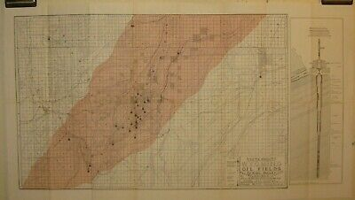 Antique Uinta County WYOMING OIL FIELDS Chas Richardson MAP - Union Pacific WELL