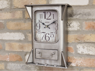 Industrial Wall Clock Metal distressed brushed Silver Grey jewelry Drawer Square