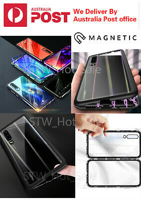 Huawei P30 P30 Mate 20 Pro Case Magnetic Adsorption Metal Rainbow Tempered Glass