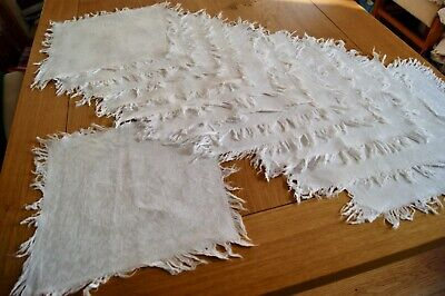 "SET of 12 WHITE DAMASK LINEN PLACEMATS or NAPKINS Fringe 12"" Square"