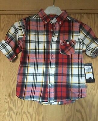 TOMMY HILFIGER  Brushed Cotton Scarlet/Sage Checked Button Collar Shirt  3 Yrs