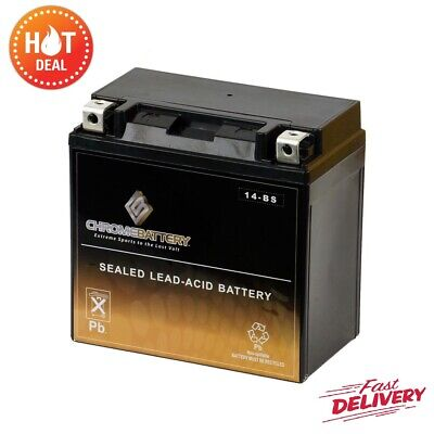 GT14b-4 Sealed AGM Motorcycle Battery Chrome High Performance Maintenance Free