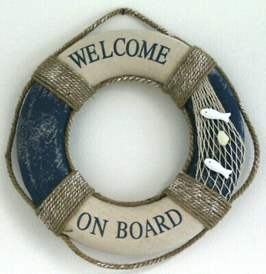 SALVAGENTE WELCOME ON BOARD  ø 40 Cm. TELA ARREDAMENTO MARINO CASA VACANZE MARE