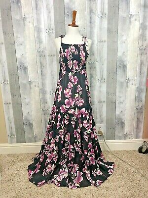e49c651d5da FREE PEOPLE GARDEN Party Maxi Dress Black Pink Floral Semi Sheer Smocked  Tie NWT