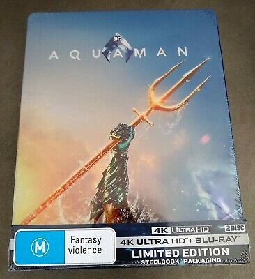 AQUAMAN 4K UHD + Blu-ray Exclusive Limited Edition STEELBOOK Import