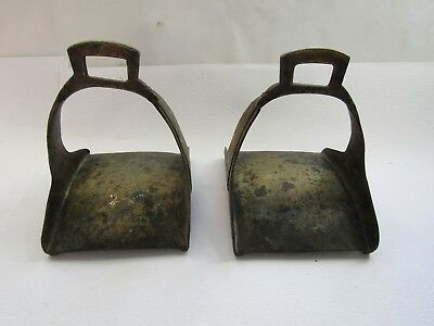 Rare antique solid brass horse stirrups, possibly military, oriental
