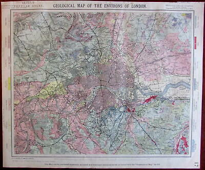 London and environs Geological map 1883 Lett's detailed city plan