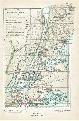 Revolutionary War Map Of New York.Original 1776 Revolutionary War Map New York Campaign Hudson River