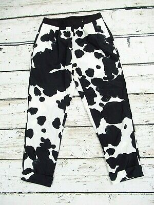2c3224bbc140 Topshop Cow Print Black & White Cropped Light Loose Trousers with Pockets  Size 8