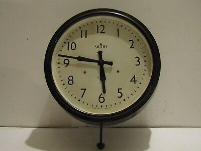 Original Smiths Enield Industrial Bakelite wall clock dated 1963 working