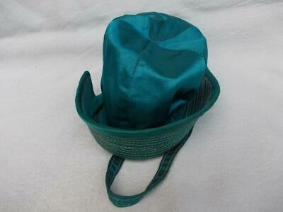 583 / A BEAUTIFUL 1920s FRENCH MADE SEA GREEN SILK HAT FOR  A LITTLE GIRL