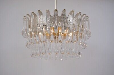 Ernst Palme chandelier for Palwa, silver plated frame with 78 crystals, 1960`s