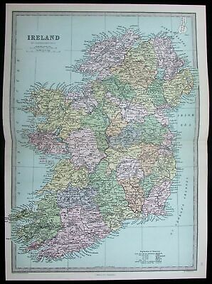 Ireland Dublin Belfast Cork Galway Ulster Munster 1882 antique color map