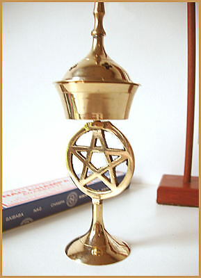 Brass ''Pentacle'' Incense Holder/Burner - 19Cm - Wicca