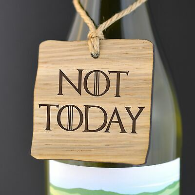 Not Today Game of Thrones Arya Stark Quote Whisky Bottle Gift Tag Get Well Soon