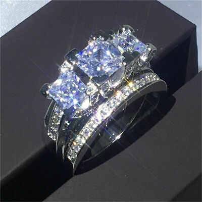 Ring Luxury White Wedding Engagement Jewelry Silver Cubic Zirconia Ring Set Girl
