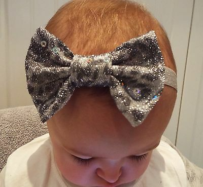 Sparkly Silver Leopard 3 Inch Hair Bow Elastic Headband Baby Toddler Girls New